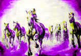 Beautiful Purple Running Stallions Oil Painting Re-print on Framed Canvas Wall Art Prints Room Deco Poster Photo Landscape Pictures Home Decoration Artwork-Front