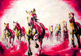 Beautiful Red Running Stallions Oil Painting Re-print on Framed Canvas Wall Art Prints Room Deco Poster Photo Landscape Pictures Home Decoration Artwork-Front