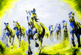 Beautiful Yellow Running Stallions Oil Painting Re-print on Framed Canvas Wall Art Prints Room Deco Poster Photo Landscape Pictures Home Decoration Artwork-Front