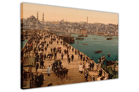 Nostalgic City Print Of 1800s Istanbul Turkey On Framed Canvas Prints Wall Art Pictures-3D
