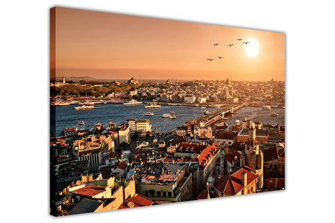 Sunset Photo Of Istanbul Turkey On Framed Canvas Prints Wall Art Pictures City Images-3D
