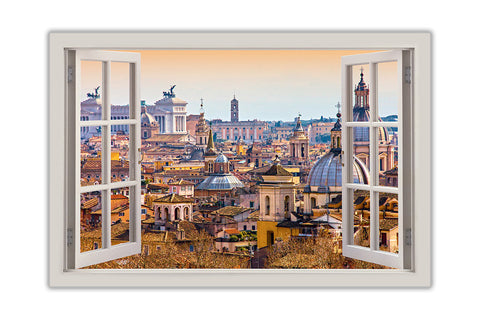 Italy, Rome Rooftops 3D Window Bay View on framed canvas prints wall ...