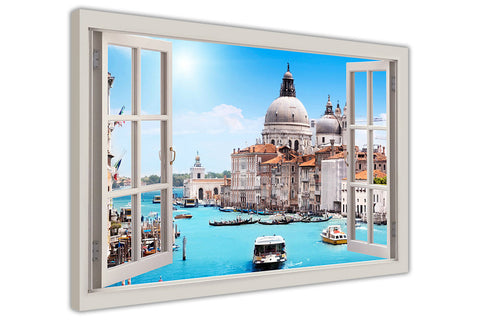 Italy Venice 3D Window Bay Effect on framed canvas prints wall art pictures posters home decoration artowork-3D