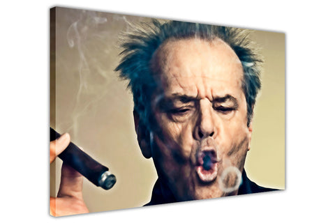Landscape Jack Nicholson Smoking Cigar on Framed Canvas Wall Art Prints Pictures Celebrity Images Famous People-3D