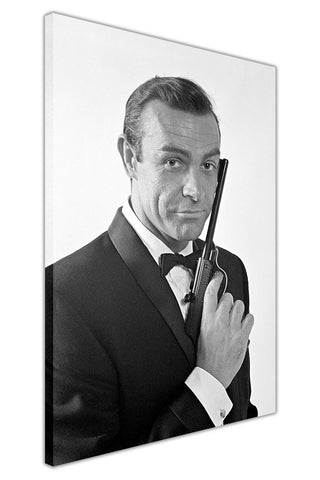 Sean Connery Black and White James Bond on Framed Canvas Wall Art Prints Pictures Celebrity Images Famous People-3D