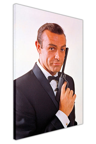 Sean Connery as James Bond on Framed Canvas Wall Art Prints Pictures Celebrity Images Famous People-3D