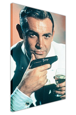 James Bond With Martini on Framed Canvas Wall Art Prints Pictures Celebrity Images Famous People-3D