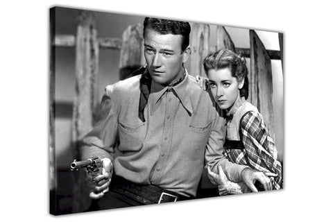 Iconic Black and White John Wayne Movie photo on Canvas Wall Art Prints Framed Pictures Home Decoration Celebrity Photos Room Deco Famous People-3D