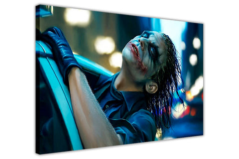 Joker from the dark knight through the car window on Framed Canvas Wall Art Prints Movie Pictures TV photos Home Decoration Room Deco Posters-3D