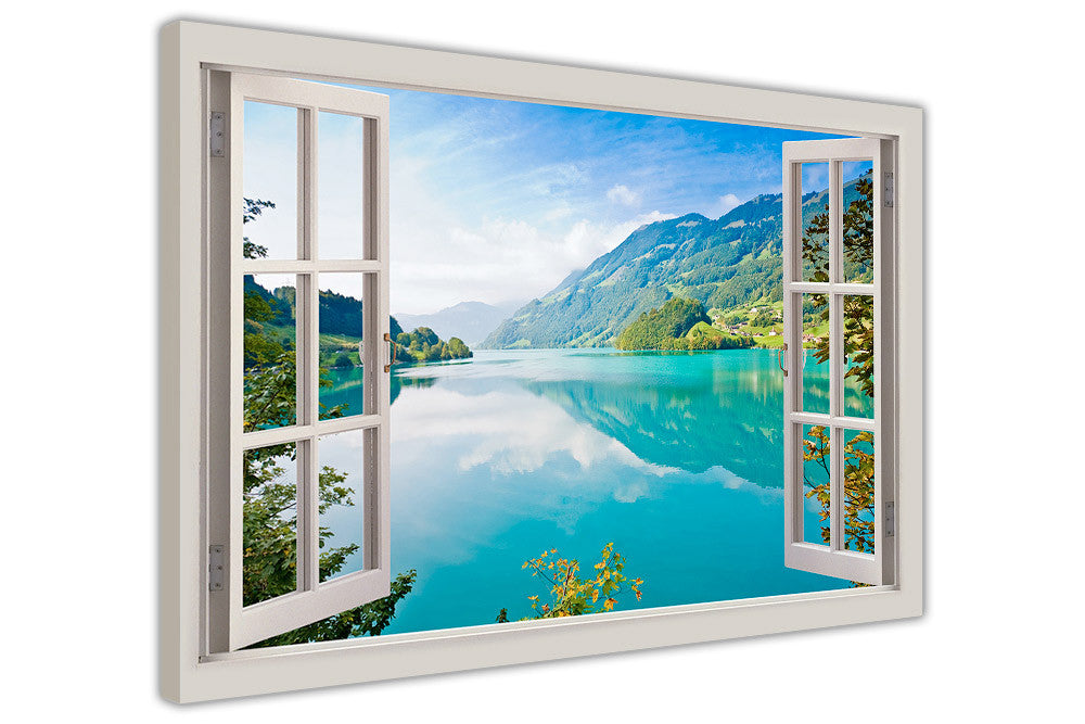 Blue Lake Mountains and Forests Window Bay View Poster Print Wall Art Decoration
