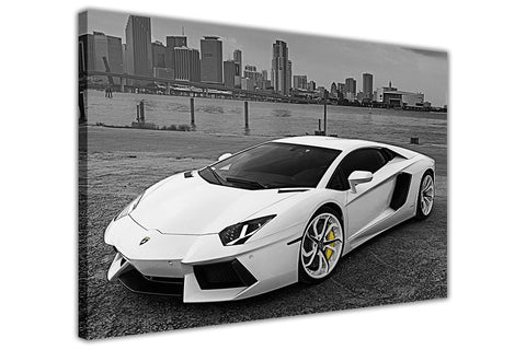 White Lamborghini Super Car on Framed Canvas Wall Art Prints Floral Pictures Home Decoration Room Deco Poster Photo Artwork-3D
