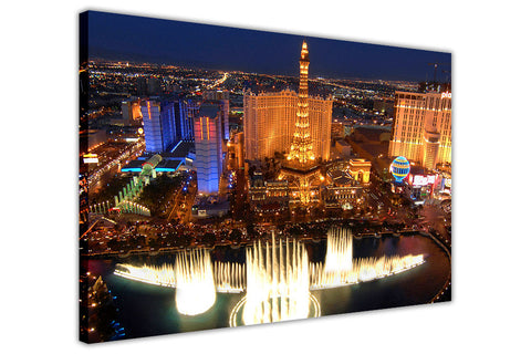 Iconic Las Vegas Photo On A Framed Canvas Print Wall Art Pictures Home Deco City View-3D