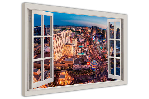 Famous Las Vegas Strip 3D Window Bay View on framed canvas prints wall art pictures posters home decoration artowork-3D