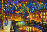 Beautiful Town By Leonid Afremov Oil Painting Re-printed on Framed Canvas Wall Art Prints Home Decoration Pictures Room Deco Photo-Front