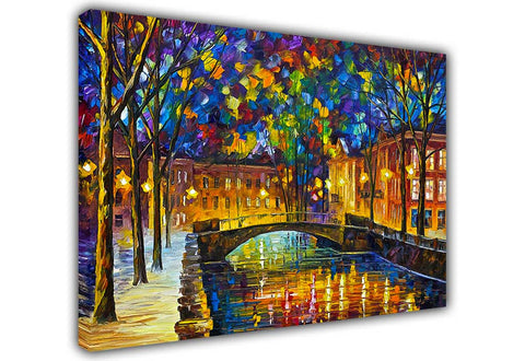 Beautiful Town By Leonid Afremov Oil Painting Re-printed on Framed Canvas Wall Art Prints Home Decoration Pictures Room Deco Photo-3D