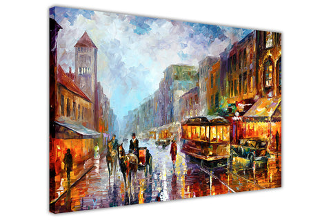 1925's Los Angeles Oil Painting By Leonid Afremov Re-printed on Framed Canvas Wall Art Prints Home Decoration Pictures Room Deco Photo-3D