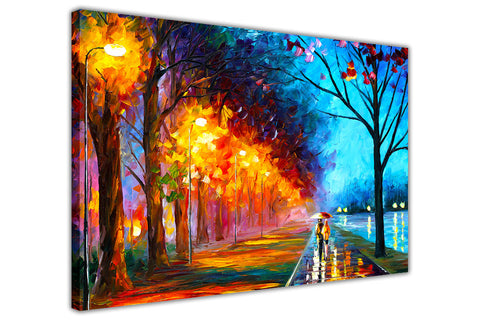 Alley By The Lake By Leonid Afremov Canvas Art Print Wall Pictures for Living Room Bedroom Office Home Decoration Oil Painting Re-print-3D