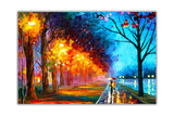 Alley By The Lake By Leonid Afremov Canvas Art Print Wall Pictures for Living Room Bedroom Office Home Decoration Oil Painting Re-print-Front