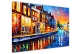Sunday Night in Amsterdam Oil Painting By Leonid Afremov Re-printed on Framed Canvas Wall Art Prints Home Decoration Pictures Room Deco Photo-3D