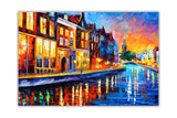 Sunday Night in Amsterdam Oil Painting By Leonid Afremov Re-printed on Framed Canvas Wall Art Prints Home Decoration Pictures Room Deco Photo-Front