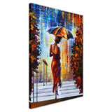 Lady at the Steps By Leonid Afremov Oil Painting Re-printed on Framed Canvas Wall Art Prints Home Decoration Pictures Room Deco Photo-3D