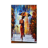 Lady at the Steps By Leonid Afremov Oil Painting Re-printed on Framed Canvas Wall Art Prints Home Decoration Pictures Room Deco Photo-Front