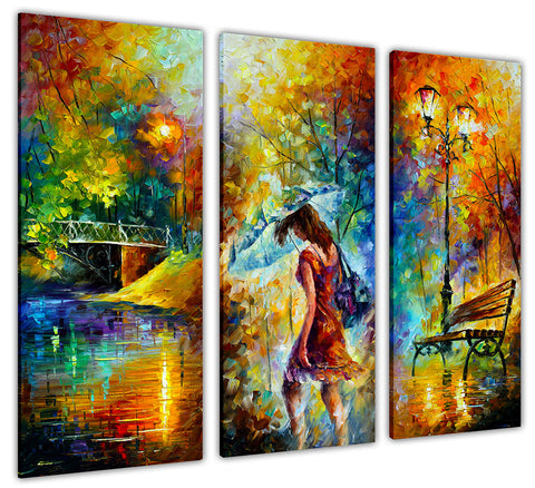 3 Piece Aura Of Autumn By Leonid Afremov Canvas print Wall Art Pictures for Living Room Bedroom Office Home Decoration Oil Painting Re-print-3D