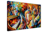 Bottle Jazz Musicians By Leonid Afremov Oil Painting Re-printed on Framed Canvas Wall Art Prints Home Decoration Pictures Room Deco Photo-3D