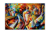 Bottle Jazz Musicians By Leonid Afremov Oil Painting Re-printed on Framed Canvas Wall Art Prints Home Decoration Pictures Room Deco Photo-Front