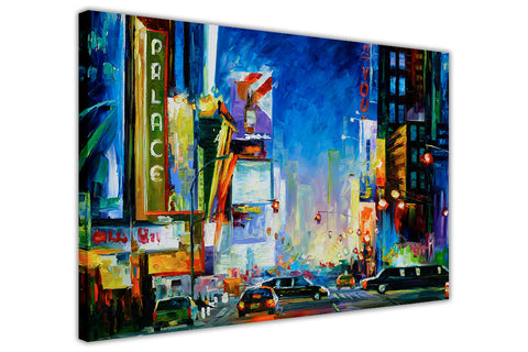 Broadway New York By Leonid Afremov Oil Painting Re-printed on Framed Canvas Wall Art Prints Home Decoration Pictures Room Deco Photo-3D