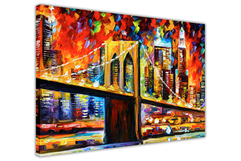 Brooklyn Bridge New York By Leonid Afremov Oil Painting Re-printed on Framed Canvas Wall Art Prints Home Decoration Pictures Room Deco Photo-3D