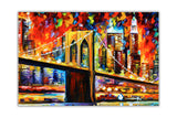 Brooklyn Bridge New York By Leonid Afremov Oil Painting Re-printed on Framed Canvas Wall Art Prints Home Decoration Pictures Room Deco Photo-Front