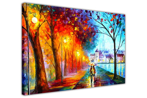 City By The Lake By Leonid Afremov Canvas print Wall Art Pictures for Living Room Bedroom Office Home Decoration Oil Painting Re-print-3D