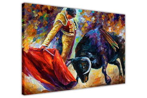 Dangerous Opponent, Spanish Bull Fight By Leonid Afremov Oil Painting Re-printed on Framed Canvas Wall Art Prints Home Decoration Pictures Room Deco Photo-3D