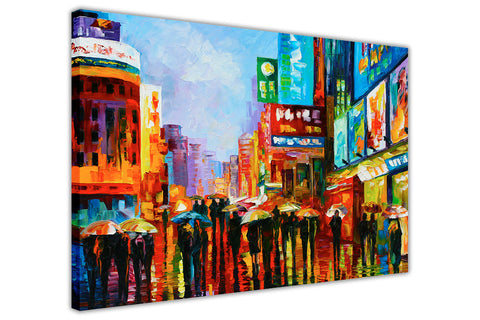 Lights of Down Town, New Yowk By Leonid Afremov Oil Painting Re-printed on Framed Canvas Wall Art Prints Home Decoration Pictures Room Deco Photo-3D