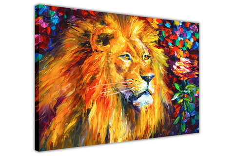 Wild African Lion By Leonid Afremov Oil Painting Re-printed on Framed Canvas Wall Art Prints Home Decoration Pictures Room Deco Photo-3D