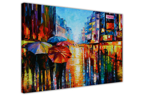 Night Umbrellas By Leonid Afremov Oil Painting Re-printed on Framed Canvas Wall Art Prints Home Decoration Pictures Room Deco Photo-3D