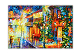 Town from the dream in Germany By Leonid Afremov Oil Painting Re-printed on Framed Canvas Wall Art Prints Home Decoration Pictures Room Deco Photo-Front