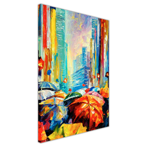Umbrellas By Leonid Afremov Oil Painting Re-printed on Framed Canvas Wall Art Prints Home Decoration Pictures Room Deco Photo-3D