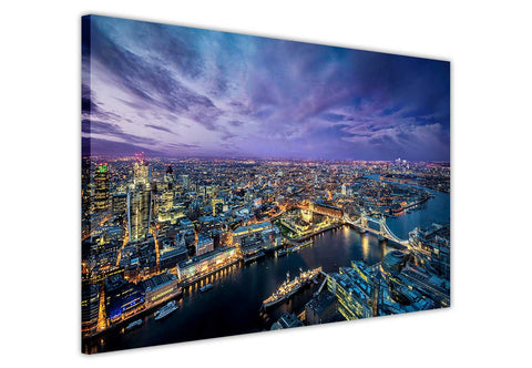 London Skyline at Night on Framed Canvas Wall Art Prints Pictures City Images Landmarks-3D