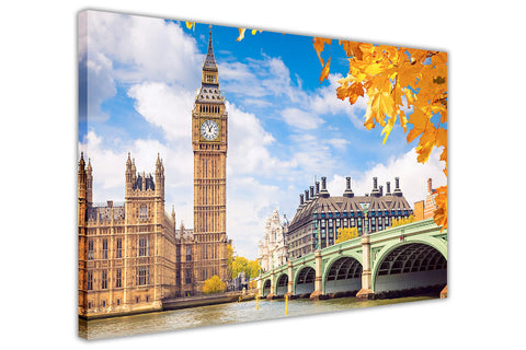 Houses of Parliament and Big Ben in London on Framed Canvas Wall Art Prints Pictures City Images Landmarks-3D