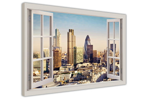 London City at Summer 3D Window Bay View on Framed Canvas Wall Art Prints Pictures Home Decoration Room Deco Poster Photo Artwork-3D