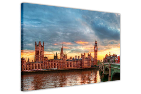 London Palace Of Westminster Parliament Canvas Pictures Wall Art Prints-3D