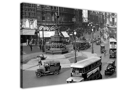 Nostalgic London Photo Of Piccadilly Circus On Framed Prints Canvas Wall Art Pictures-3D