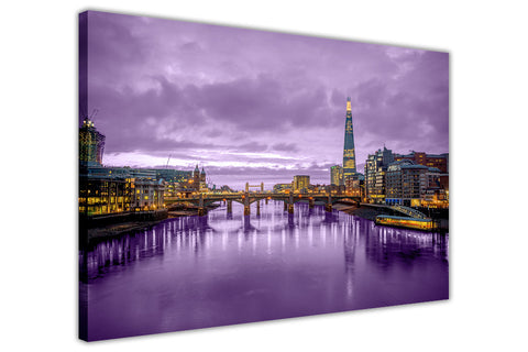 Beautiful Purple Night Sky London Landscape On Canvas Wall Art Print Framed Pictures-3D