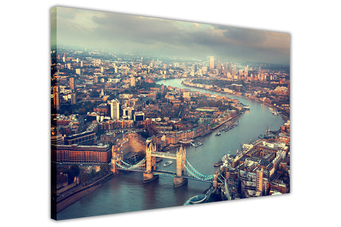 Landscape London Summer Tower Bridge and River Thames on Framed Canvas Wall Art Prints Pictures City Images Landmarks-3D