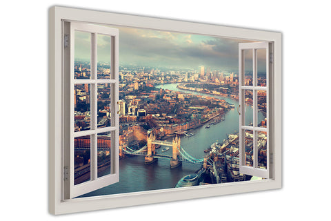 London Summer Aerial View 3D Window Bay View on Framed Canvas Wall Art Prints Room Deco Poster Photo Landscape Pictures Home Decoration Artwork-3D