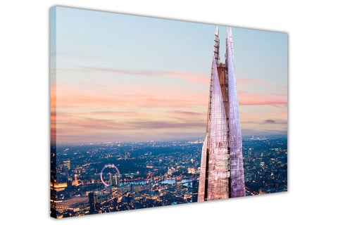 London Skyline Sunset And The Shard Framed Canvas Print Wall Art Pictures City Images-3D
