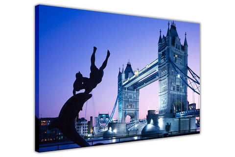 London City Pictures Iconic Tower Bridge Canvas Prints Wall Art Framed-3D