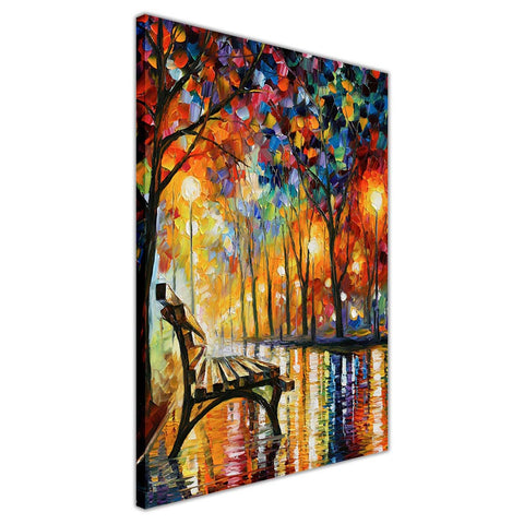 Lonliness Autumn By Leonid Afremov Oil Painting Re-printed on Framed Canvas Wall Art Prints Home Decoration Pictures Room Deco Photo-3D